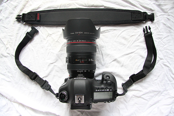 The side straps thread through the strap mount eyelets on the side of your camera.